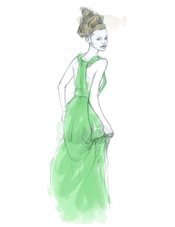 dress lady illo