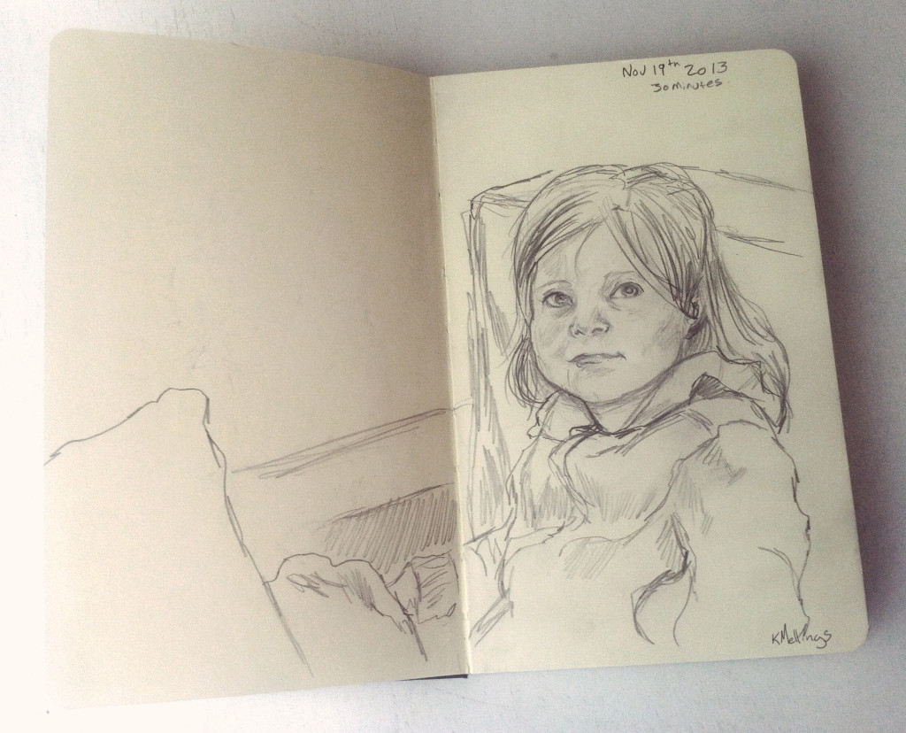 Drawing of Kelly's Daughter Verite. Pencil, 30 minutes.