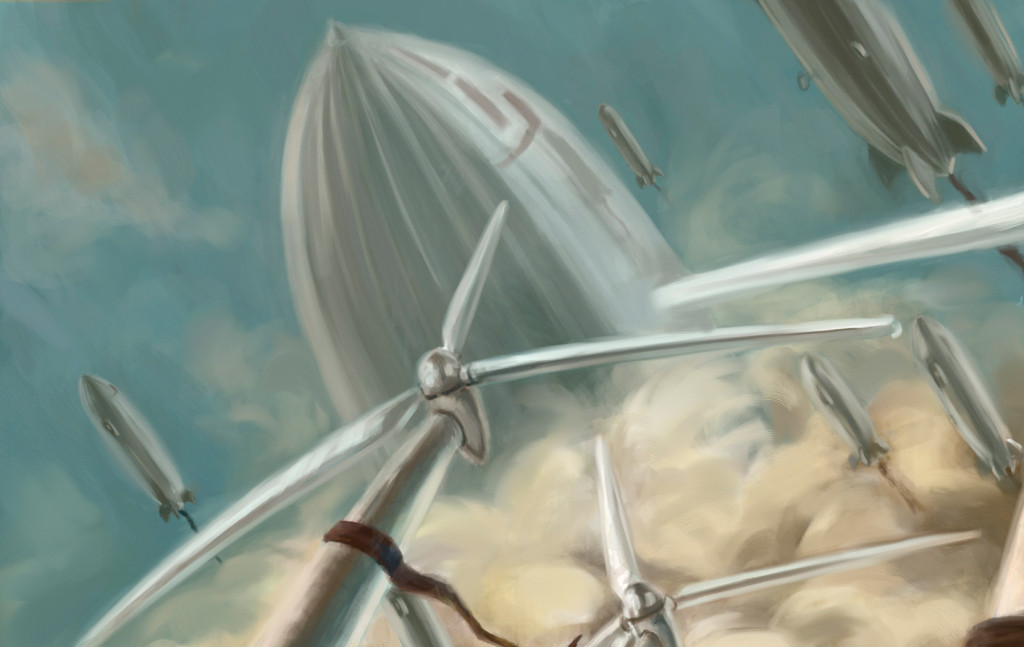 Closeup of Corey Lansdell's artpiece Victory March. The detail is of the sky and blimps.