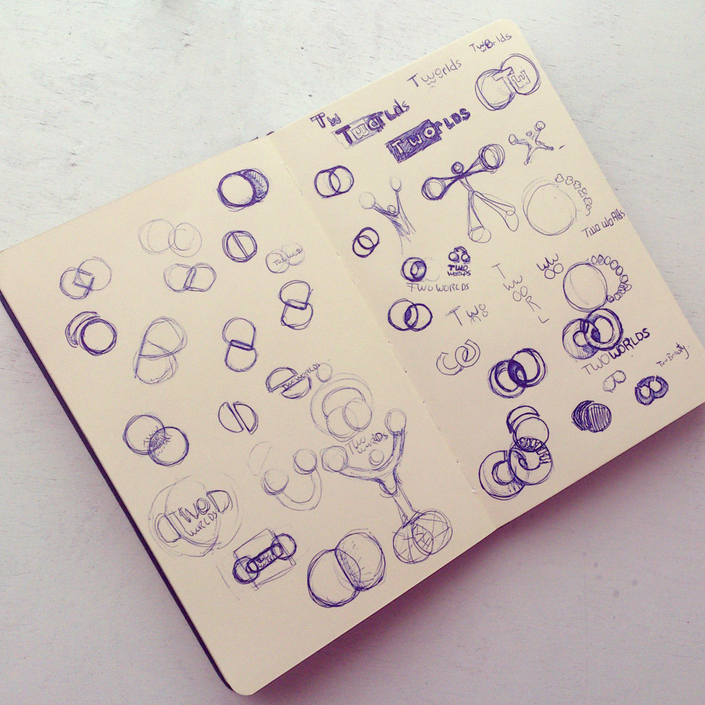 Corey Lansdell's sketchbook page. The page explores logo design.