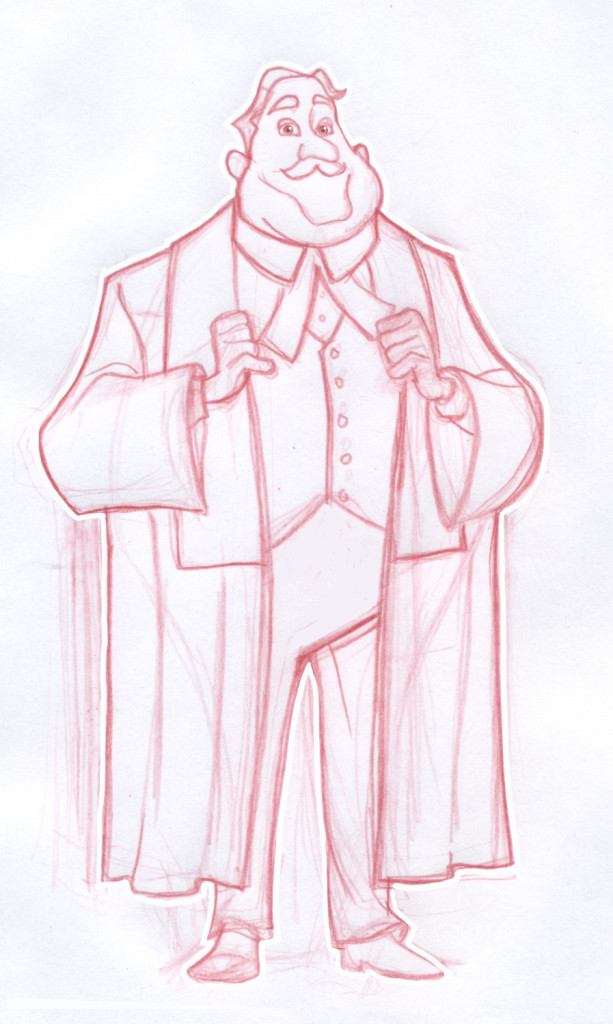 Sketch of Judge cartoon character for Zebra Child Protection Agency. Illustration done for Red the Agency by Pulp Studios Inc.